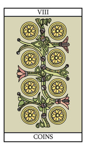 The Eight of Pentacles (Coins) - tarot card meaning in