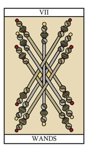 The Seven of Wands - tarot card meaning and illustration on